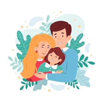 Uma família feliz se abraça. ilustração vetorial