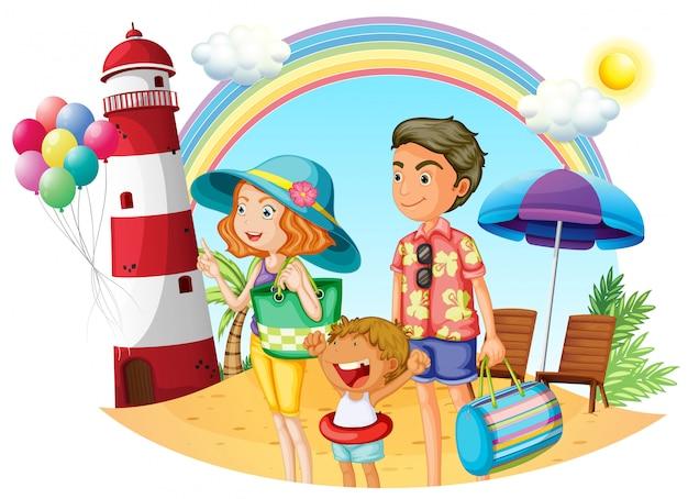 Uma família na praia com um farol