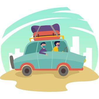 Uma família pequena viaja usando a ilustração de seu próprio carro