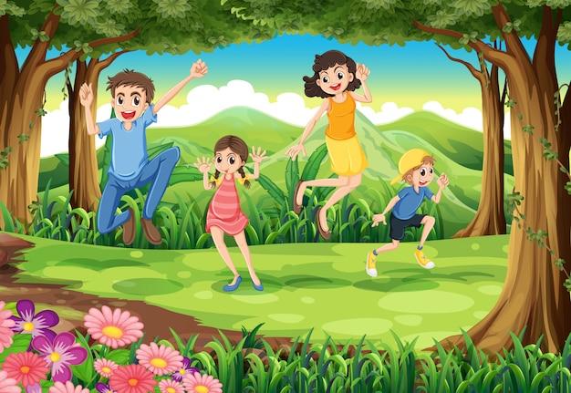 Uma família pulando na floresta