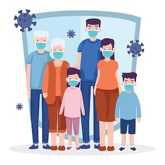 Uma família sempre usa uma máscara para evitar a pandemia do vírus