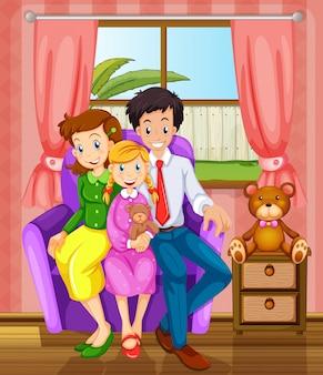 Uma família sorridente dentro de casa
