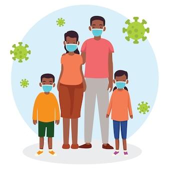 Uma família tenta proteger os membros da família do vírus usando sempre uma máscara