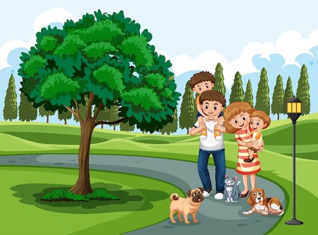 Uma família visitando o parque de férias