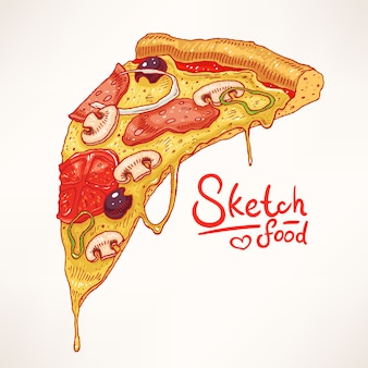 Uma fatia de pizza apetitosa desenhada à mão