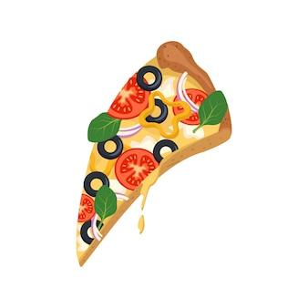 Uma fatia de pizza com queijo derretido, tomate e azeitonas