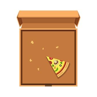 Uma fatia de pizza na caixa de papelão aberta