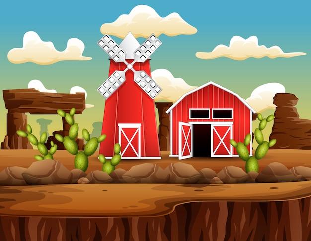 Uma fazenda na paisagem da cidade oeste selvagem