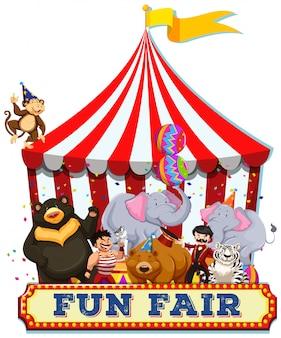 Uma feira de diversões com animais