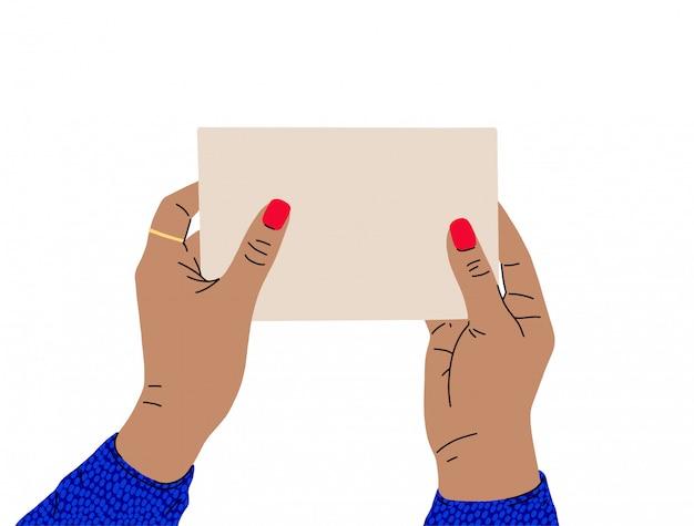 Uma fêmea mãos com uma bela manicure e blusa brilhante detém uma placa de sinal. vista lateral. ilustração na moda em estilo cartoon. design plano.
