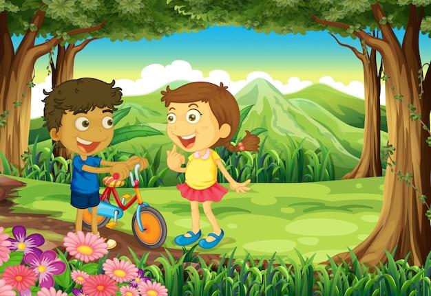 Uma floresta com crianças e uma bicicleta