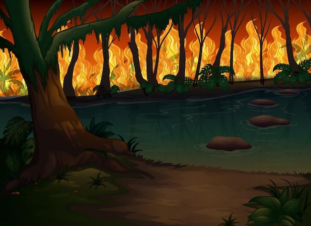 Uma floresta com desastre de incêndios florestais