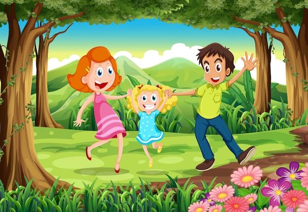 Uma floresta com uma família feliz