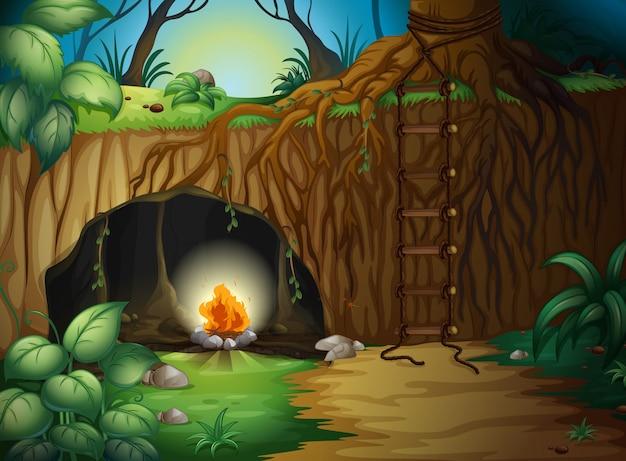 Uma fogueira de acampamento em uma caverna
