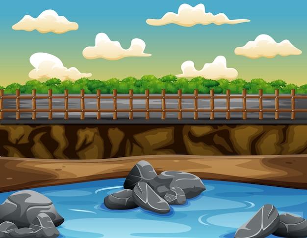 Uma forma de água perto da estrada na natureza paisagem