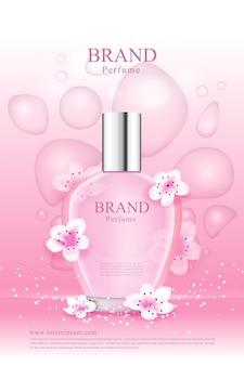 Uma fragrância de flor de cerejeira com gotículas rosa