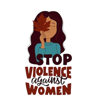 Uma frase e garota afro para o dia internacional pela eliminação da violência contra as mulheres desenhos