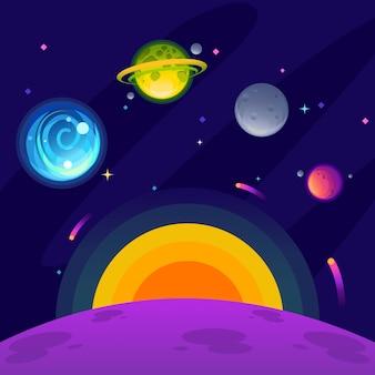 Uma galáxia de fantasia que consiste em planetas azul, verde, cinza e magenta