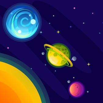 Uma galáxia de fantasia que consiste em planetas verde-azulados e magenta