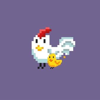 Uma galinha e um pintinho com estilo pixel art