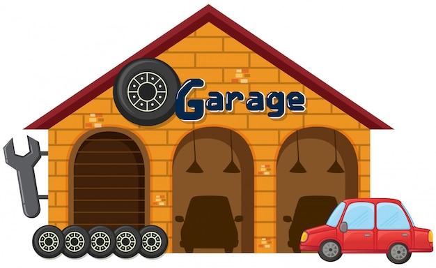 Uma garagem no fundo branco