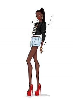 Uma garota alta e esguia de shorts curtos, jaqueta e sapatos de salto alto.
