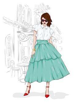 Uma garota alta e esguia em uma saia midi, uma blusa, sapatos de salto alto e uma bolsa.