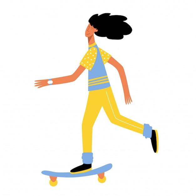 Uma garota anda de skate em um dia de verão