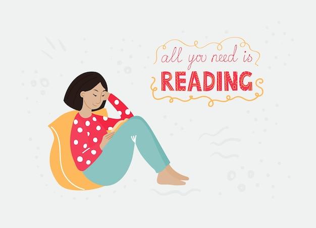 Uma garota asiática com um cabelo escuro em uma roupa brilhante, sentada de costas em seu travesseiro amarelo e lendo um livro. ilustração plana dos desenhos animados.