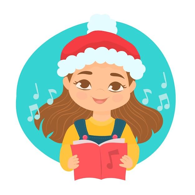 Uma garota cantando canções de natal