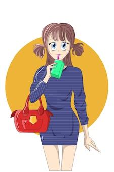 Uma garota com bolsa vermelha e minivestido azul