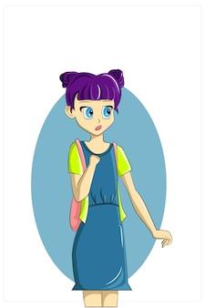 Uma garota com cabelo roxo fofo