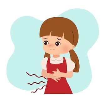 Uma garota com fome ou dor de estômago. problema no estômago, dor, doença. desenho vetorial plana isolado