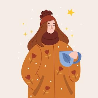 Uma garota com um casaco quente bebe chá, vinho quente ou café. feliz férias de inverno.