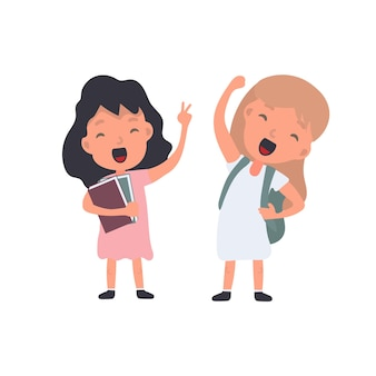 Uma garota com uma mochila acena. aluna satisfeita. adequado para design na escola ou nas férias. isolado. vetor.
