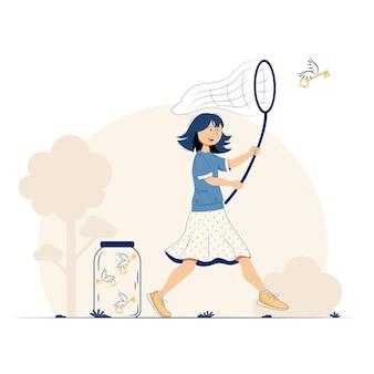 Uma garota com uma rede pega uma chave voadora
