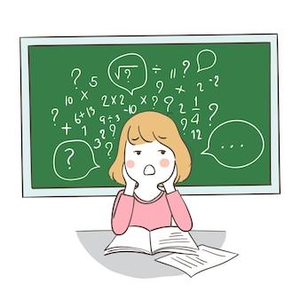 Uma garota confusa sobre matemática no quadro-negro