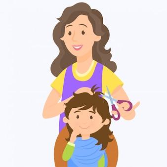Uma garota cortando o cabelo