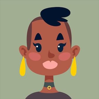 Uma garota de pele escura com têmporas raspadas e brincos, um avatar de uma mulher africana