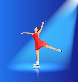 Uma garota de vestido está praticando patinação artística no gelo
