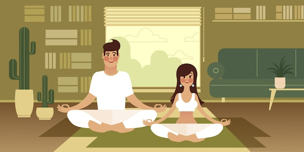 Uma garota e seu namorado fazem uma pausa de ioga enquanto trabalham em casa.