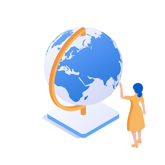 Uma garota em frente a um grande globo o conceito de explorar o mundo estuda