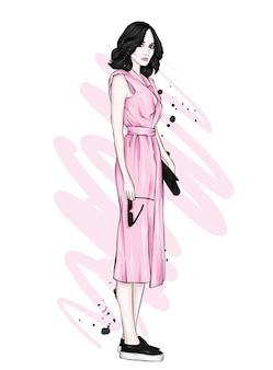 Uma garota em um lindo vestido. roupas e acessórios vintage e retrô.