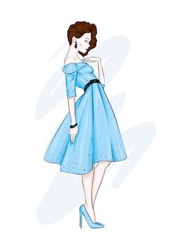Uma garota em um lindo vestido vintage.