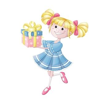 Uma garota em um vestido azul com uma caixa de presente.