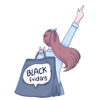 Uma garota está sugerindo algo sobre a black friday