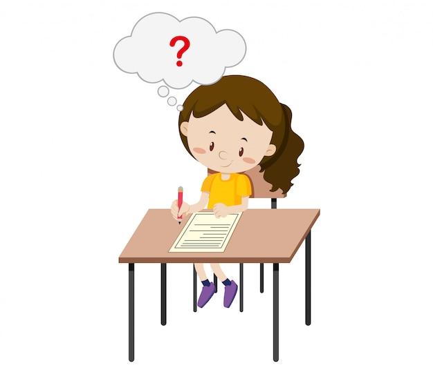 Uma garota fazendo o exame