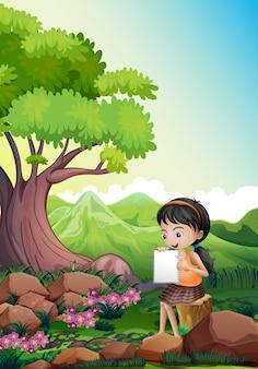 Uma garota fazendo sua tarefa ao ar livre