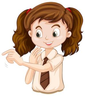 Uma garota feliz apontando o dedo
