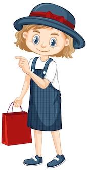 Uma garota feliz com bolsa vermelha